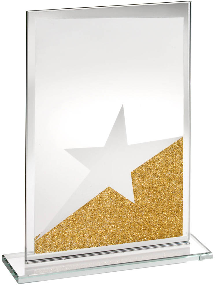 "Rectangle Jade Glass Star Plaque With Gold Glitter Detail 18.5cm (7.25"")"