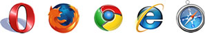 Opera, Firefox, Google Chrome, Internet Explorer and Safari Browser Logos